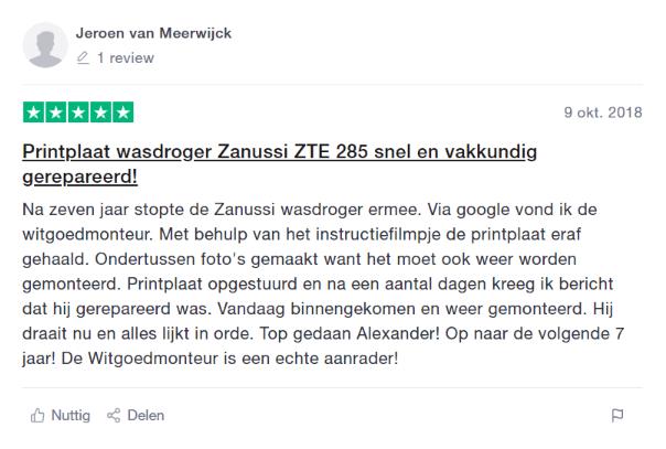 Wasdroger Zanussi droger printplaat snel gerepareerd