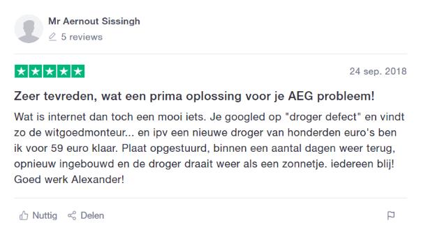 AEG storing, problemen met wasautomaat gerepareerd